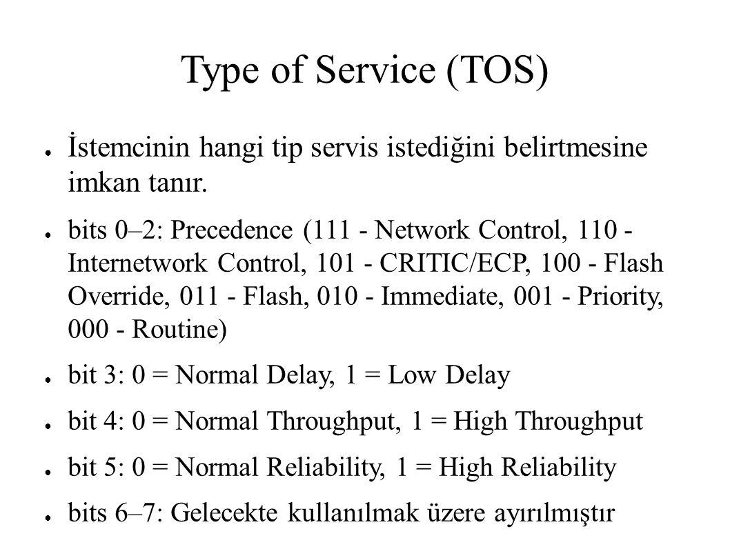 Type of Service (TOS) ● İstemcinin hangi tip servis istediğini belirtmesine imkan tanır. ● bits 0–2: Precedence (111 - Network Control, 110 - Internet