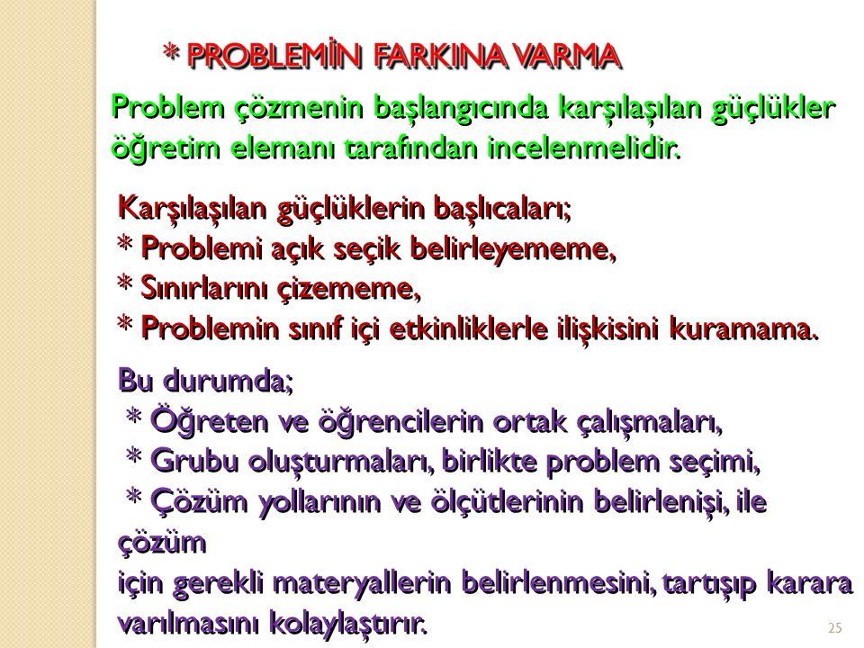 2. Bir problemi çözmede izlenen yol * Problemin farkına varma, * Problemin ne oldu ğ unu tanımlama ve sınırlama, * Problem çözümü için denenceler oluş