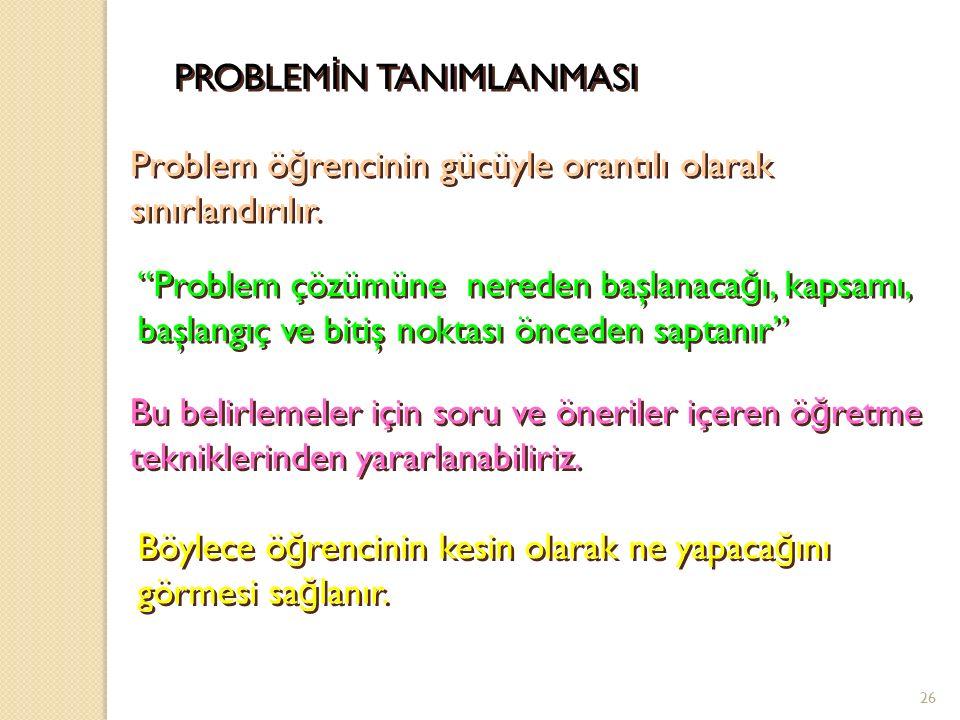 * PROBLEM İ N FARKINA VARMA Problem çözmenin başlangıcında karşılaşılan güçlükler ö ğ retim elemanı tarafından incelenmelidir.