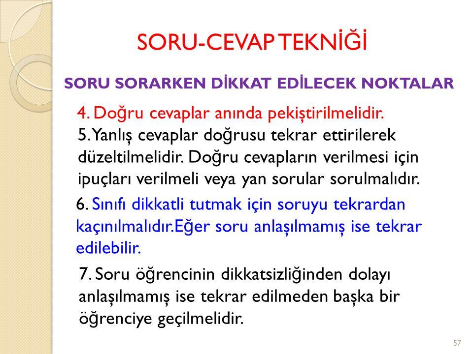 SORU-CEVAP TEKN İĞİ SORU SORARKEN D İ KKAT ED İ LECEK NOKTALAR 1.