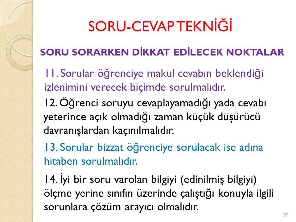 SORU-CEVAP TEKN İĞİ 8. Sorular EVET yada HAYIR cevapları verilecek yapıda olmamalıdır.