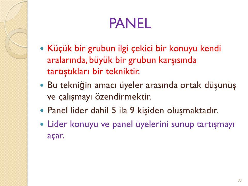Uygulanışı *Her iki panelin üyeleri dinleyici karşısında yerlerini alırlar.