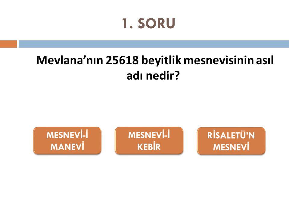 1. SORU Mevlana'nın 25618 beyitlik mesnevisinin asıl adı nedir