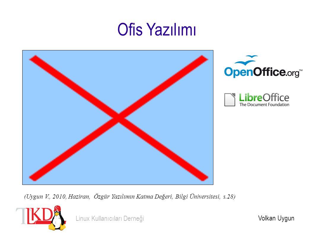 Ofis Yazılımı Volkan Uygun Linux Kullanıcıları Derneği (Uygun V., 2010, Haziran, Özgür Yazılımın Katma Değeri, Bilgi Üniversitesi, s.28)