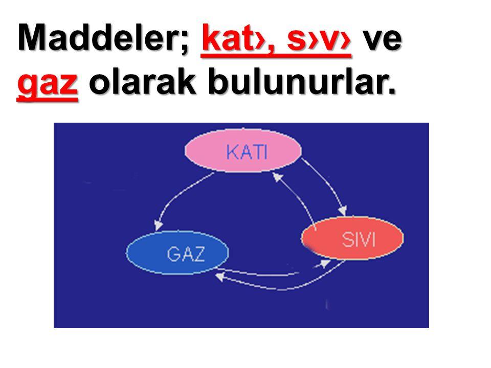 Maddeler; kat›, s›v› ve gaz olarak bulunurlar.