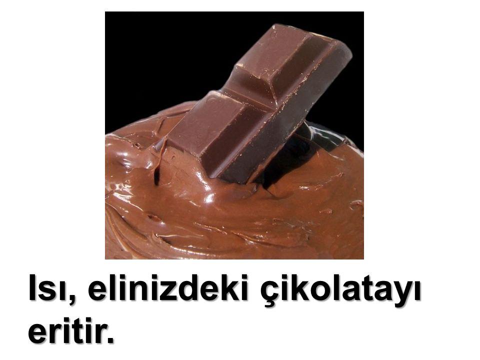 Isı, elinizdeki çikolatayı eritir. Sıvı hale gelir.