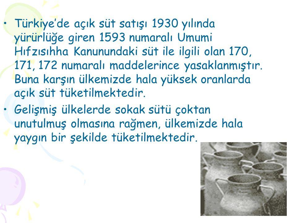 Türkiye'de açık süt satışı 1930 yılında yürürlüğe giren 1593 numaralı Umumi Hıfzısıhha Kanunundaki süt ile ilgili olan 170, 171, 172 numaralı maddelerince yasaklanmıştır.