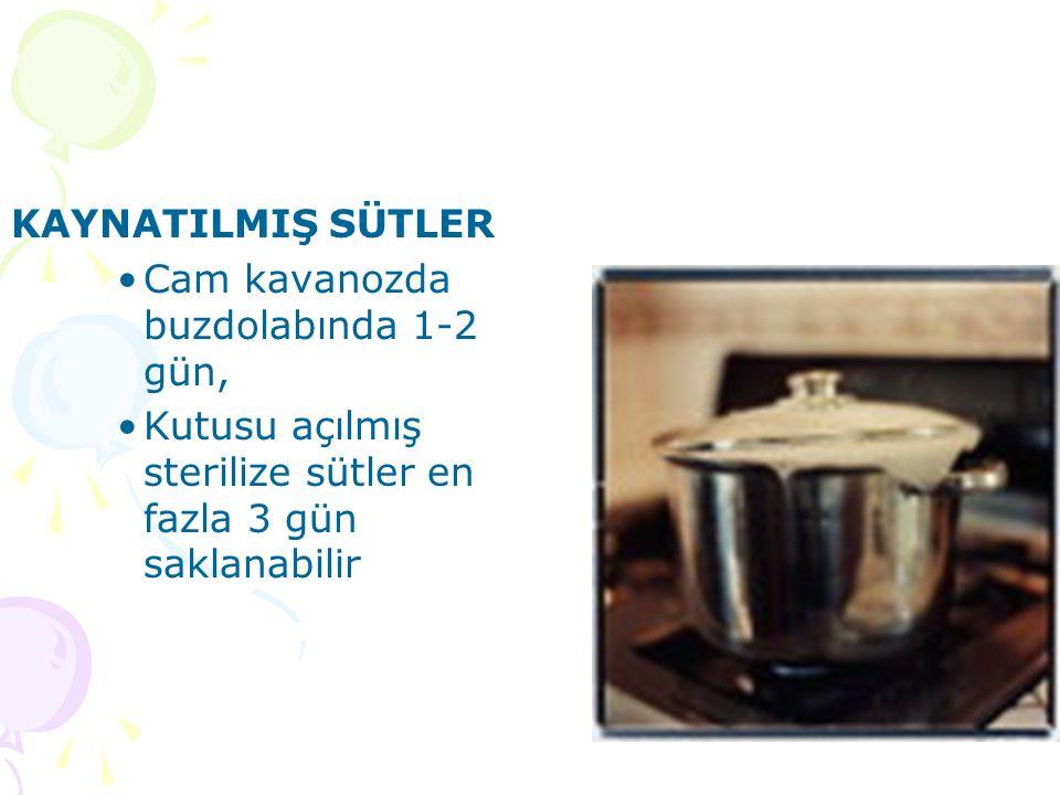 KAYNATILMIŞ SÜTLER Cam kavanozda buzdolabında 1-2 gün, Kutusu açılmış sterilize sütler en fazla 3 gün saklanabilir