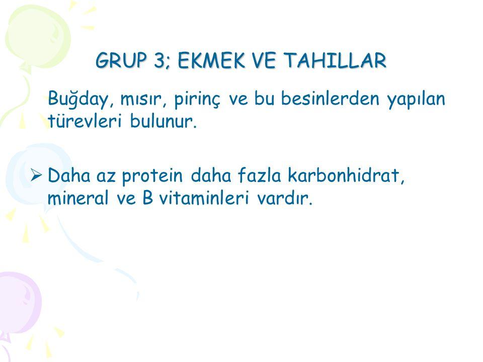 GRUP 3; EKMEK VE TAHILLAR Buğday, mısır, pirinç ve bu besinlerden yapılan türevleri bulunur.