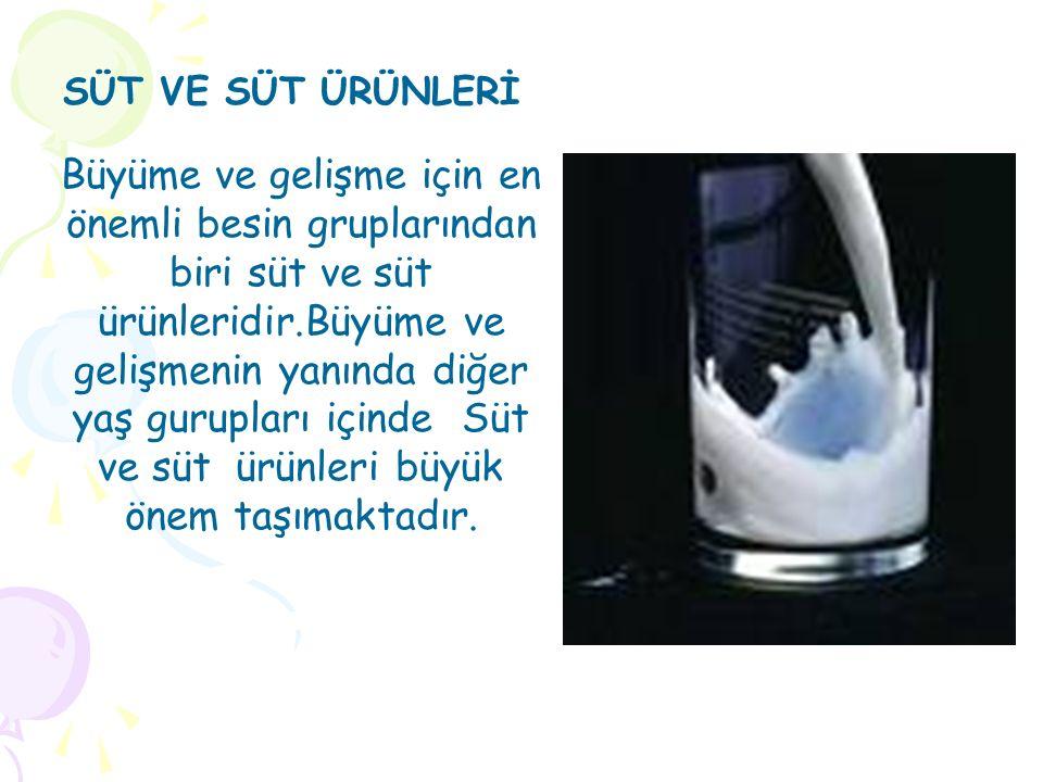 Büyüme ve gelişme için en önemli besin gruplarından biri süt ve süt ürünleridir.Büyüme ve gelişmenin yanında diğer yaş gurupları içinde Süt ve süt ürünleri büyük önem taşımaktadır.