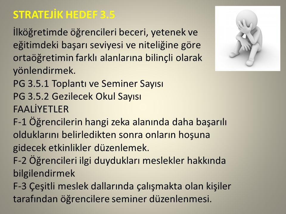 STRATEJİK HEDEF 3.5 İlköğretimde öğrencileri beceri, yetenek ve eğitimdeki başarı seviyesi ve niteliğine göre ortaöğretimin farklı alanlarına bilinçli olarak yönlendirmek.