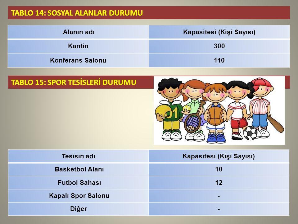 TABLO 14: SOSYAL ALANLAR DURUMU Alanın adıKapasitesi (Kişi Sayısı) Kantin300 Konferans Salonu110 TABLO 15: SPOR TESİSLERİ DURUMU Tesisin adıKapasitesi (Kişi Sayısı) Basketbol Alanı10 Futbol Sahası12 Kapalı Spor Salonu- Diğer-