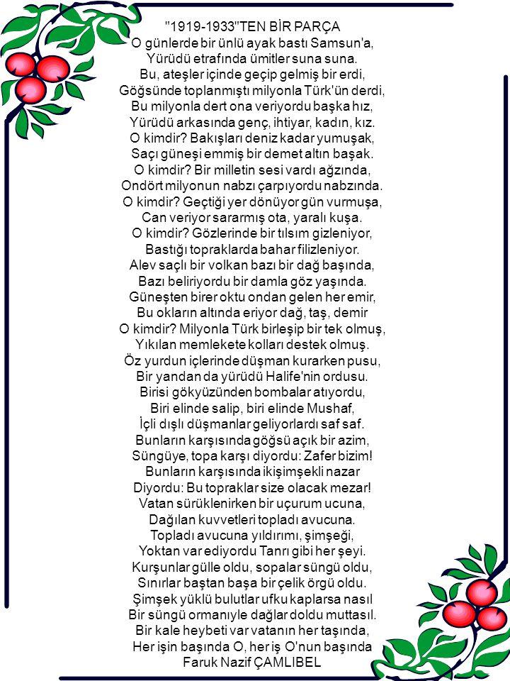 AĞIT Tanrı yı düşündü de kendisi gibi yüce Türk, göğe Tanrı dedi seni görmeden önce Yeryüzünde bu adı yalnız dağlara verdi. Göçen bir ordu değil, bir milletin başbuğu, Bu millet Türk milleti, gökten alındı tuğu.