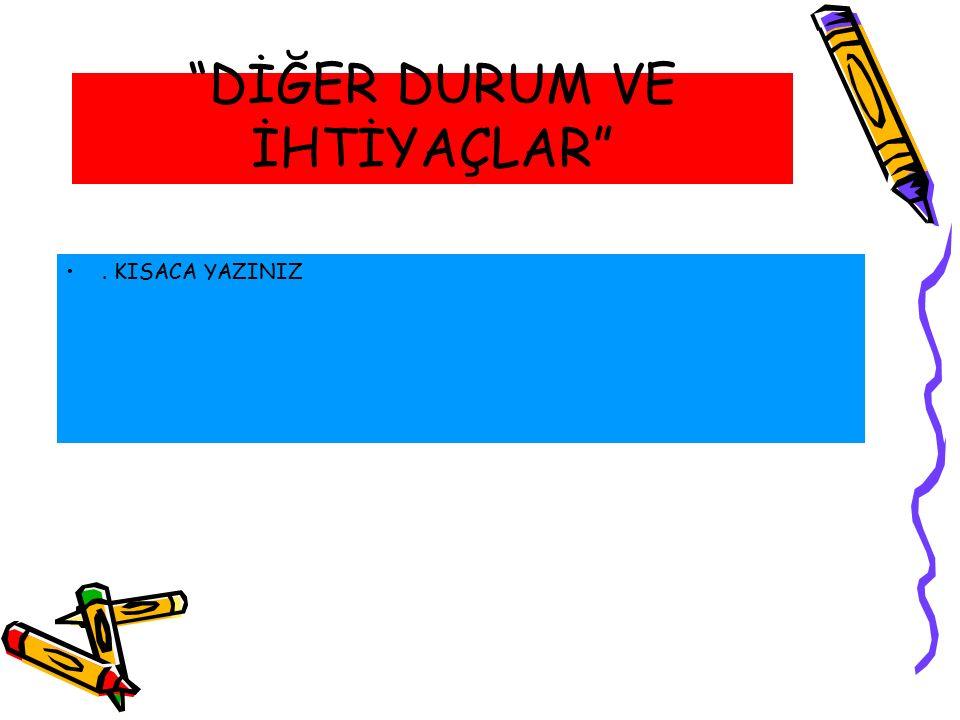 """""""DİĞER DURUM VE İHTİYAÇLAR"""". KISACA YAZINIZ"""