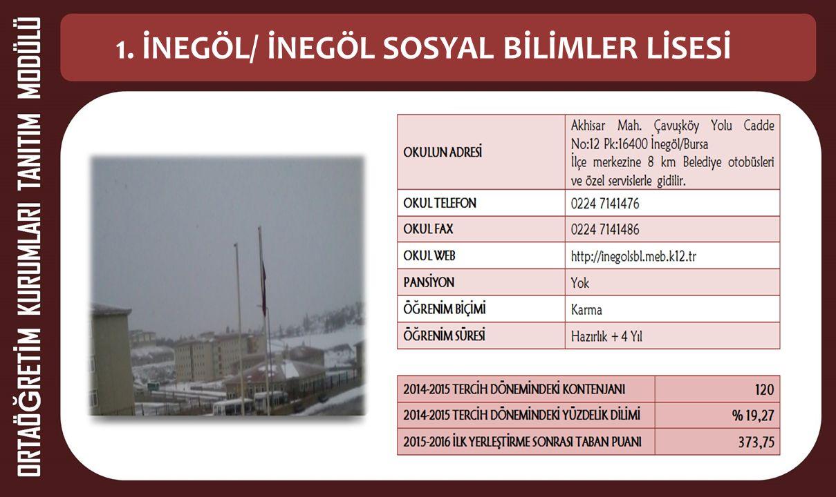1. İNEGÖL/ İNEGÖL SOSYAL BİLİMLER LİSESİ