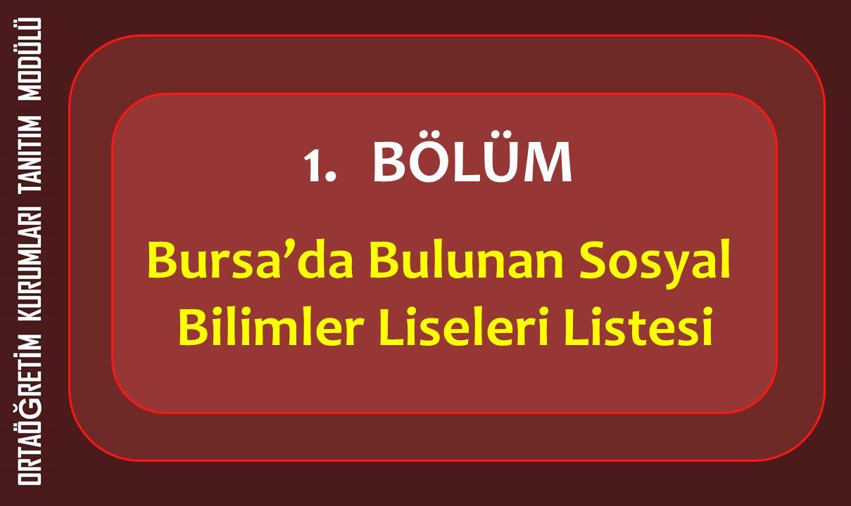 1.BÖLÜM Bursa'da Bulunan Sosyal Bilimler Liseleri Listesi