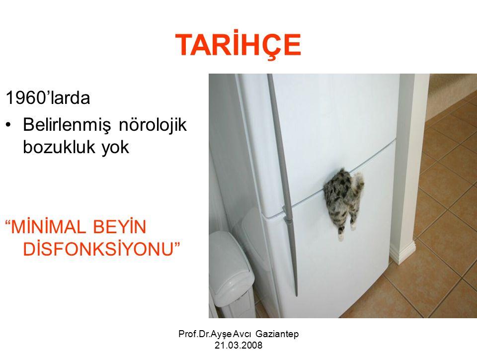 Prof.Dr.Ayşe Avcı Gaziantep 21.03.2008 TARİHÇE 1960'larda Belirlenmiş nörolojik bozukluk yok MİNİMAL BEYİN DİSFONKSİYONU