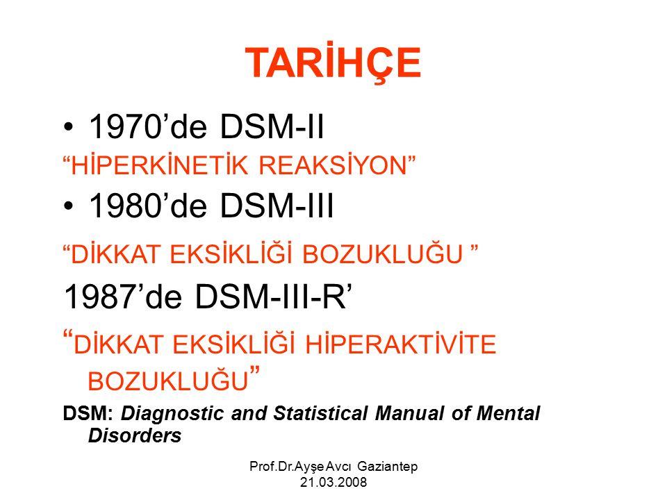 Prof.Dr.Ayşe Avcı Gaziantep 21.03.2008 TARİHÇE 1970'de DSM-II HİPERKİNETİK REAKSİYON 1980'de DSM-III DİKKAT EKSİKLİĞİ BOZUKLUĞU 1987'de DSM-III-R' DİKKAT EKSİKLİĞİ HİPERAKTİVİTE BOZUKLUĞU DSM: Diagnostic and Statistical Manual of Mental Disorders