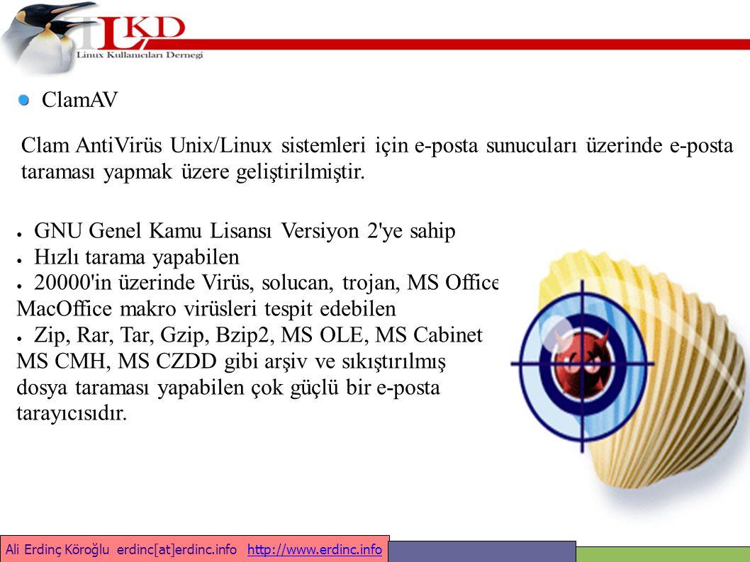 Ali Erdinç Köroğlu erdinc[at]erdinc.info http://www.erdinc.infohttp://www.erdinc.info ClamAV Clam AntiVirüs Unix/Linux sistemleri için e-posta sunucuları üzerinde e-posta taraması yapmak üzere geliştirilmiştir.