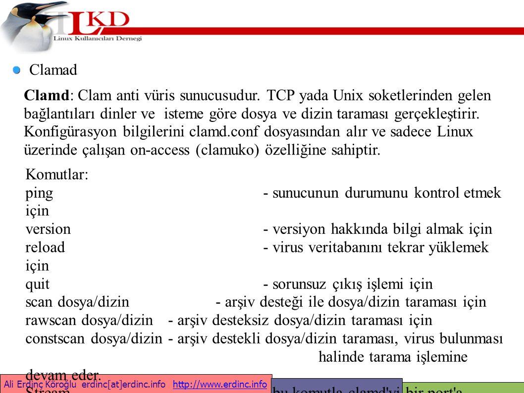 Ali Erdinç Köroğlu erdinc[at]erdinc.info http://www.erdinc.infohttp://www.erdinc.info Clamad Clamd: Clam anti vüris sunucusudur.