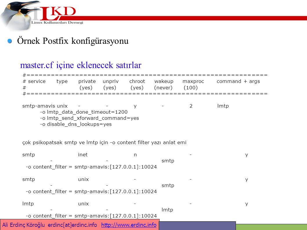 Ali Erdinç Köroğlu erdinc[at]erdinc.info http://www.erdinc.infohttp://www.erdinc.info Örnek Postfix konfigürasyonu #=========================================================== # service type private unpriv chroot wakeup maxproc command + args # (yes) (yes) (yes) (never) (100) #=========================================================== smtp-amavis unix - - y - 2 lmtp -o lmtp_data_done_timeout=1200 -o lmtp_send_xforward_command=yes -o disable_dns_lookups=yes çok psikopatsak smtp ve lmtp için -o content filter yazı anlat emi smtpinetn-y --smtp -o content_filter = smtp-amavis:[127.0.0.1]:10024 smtpunix--y --smtp -o content_filter = smtp-amavis:[127.0.0.1]:10024 lmtpunix--y --lmtp -o content_filter = smtp-amavis:[127.0.0.1]:10024 master.cf içine eklenecek satırlar