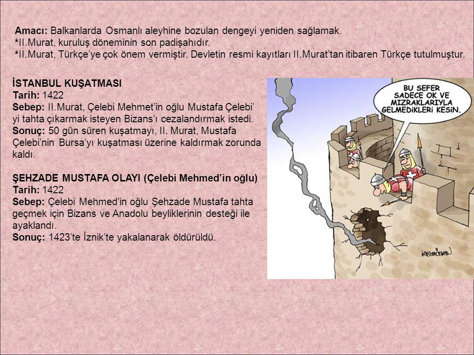 Amacı: Balkanlarda Osmanlı aleyhine bozulan dengeyi yeniden sağlamak. *II.Murat, kuruluş döneminin son padişahıdır. *II.Murat, Türkçe'ye çok önem verm