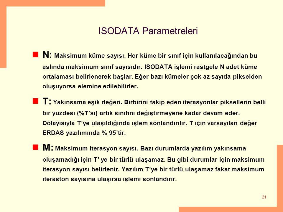 21 ISODATA Parametreleri N: Maksimum küme sayısı. Her küme bir sınıf için kullanılacağından bu aslında maksimum sınıf sayısıdır. ISODATA işlemi rastge