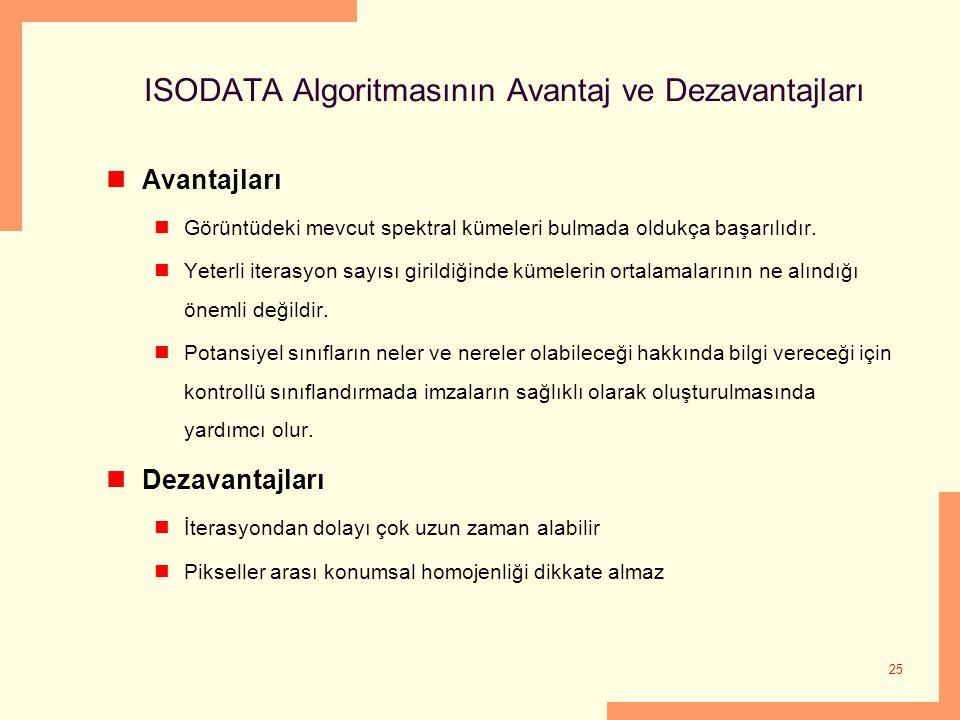 25 ISODATA Algoritmasının Avantaj ve Dezavantajları Avantajları Görüntüdeki mevcut spektral kümeleri bulmada oldukça başarılıdır. Yeterli iterasyon sa