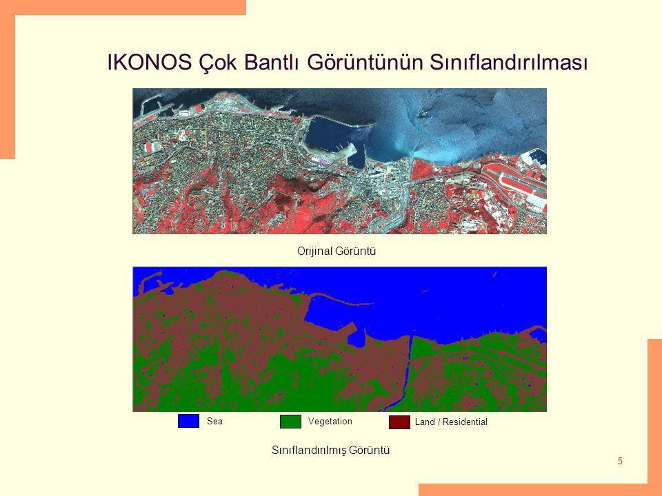 5 IKONOS Çok Bantlı Görüntünün Sınıflandırılması SeaVegetation Land / Residential Orijinal Görüntü Sınıflandırılmış Görüntü