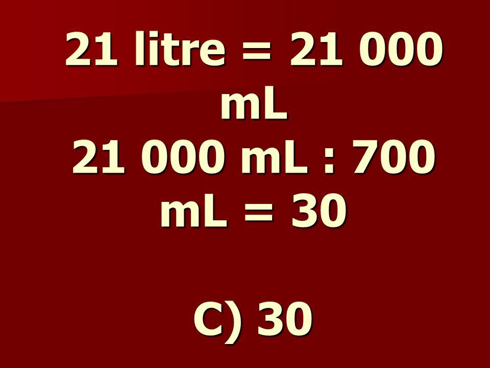 21 litrelik bir kovadaki su 700 mL'lik bir tas ile boşaltılmaktadır.
