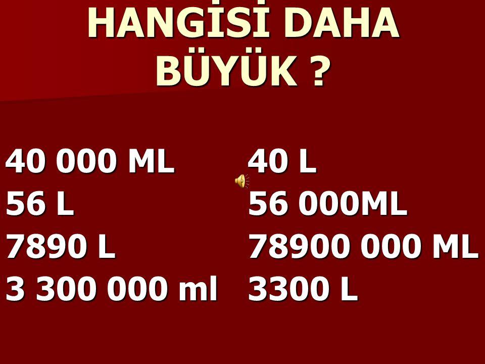 1 LİTRE = 1000 MİLİ LİTRE 1 L =1000 ML 1000ML=1 L 2000 ML=2 L 2 L=2000 ML 30 L= 30 000 ML 450 L=450 000 ML 30 000 ML= 30 L 560 000 ML=560 L
