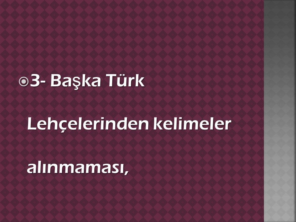  3- Ba ş ka Türk Lehçelerinden kelimeler alınmaması,