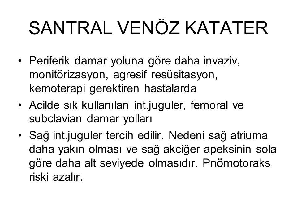 SANTRAL VENÖZ KATATER İnt.juguler subclaviane tercih edilir, hem daha komprese edilebilirdir hem de valsalva ve trendelenburg ile genişleyebilir.