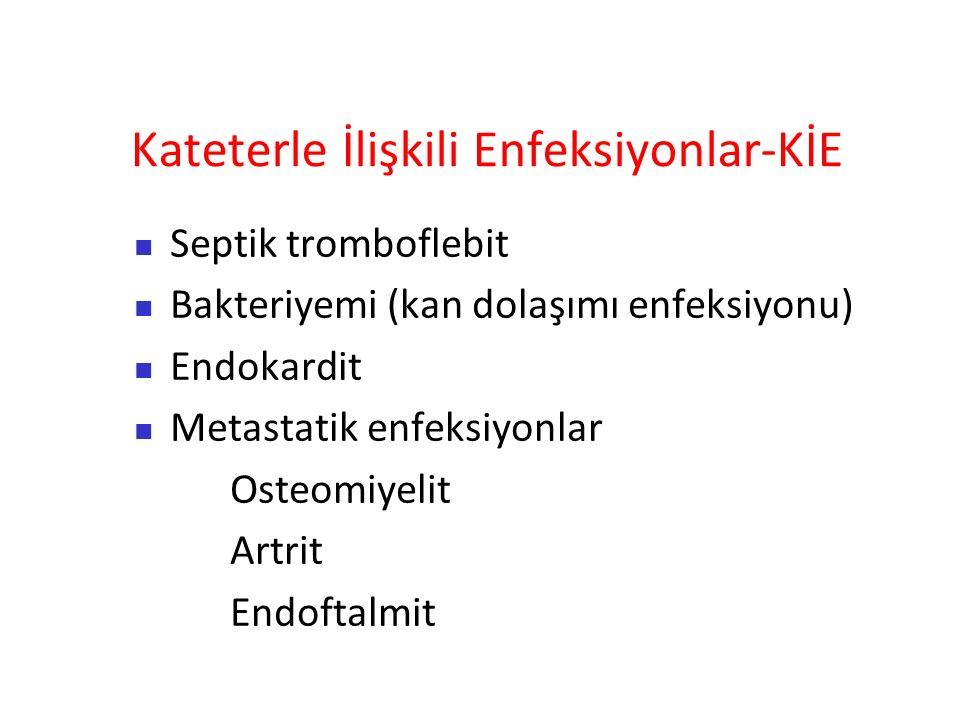 Kateterle İlişkili Enfeksiyonlar-KİE Septik tromboflebit Bakteriyemi (kan dolaşımı enfeksiyonu) Endokardit Metastatik enfeksiyonlar Osteomiyelit Artrit Endoftalmit