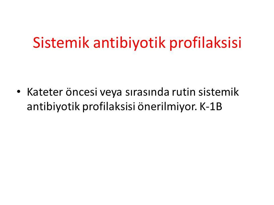Sistemik antibiyotik profilaksisi Kateter öncesi veya sırasında rutin sistemik antibiyotik profilaksisi önerilmiyor.