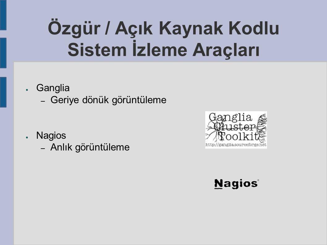 Özgür / Açık Kaynak Kodlu Sistem İzleme Araçları ● Ganglia – Geriye dönük görüntüleme ● Nagios – Anlık görüntüleme