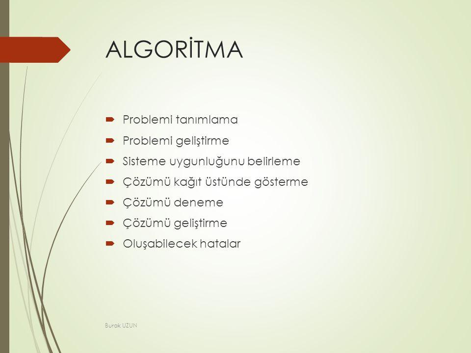 ALGORİTMA  Problemi tanımlama  Problemi geliştirme  Sisteme uygunluğunu belirleme  Çözümü kağıt üstünde gösterme  Çözümü deneme  Çözümü geliştirme  Oluşabilecek hatalar Burak UZUN