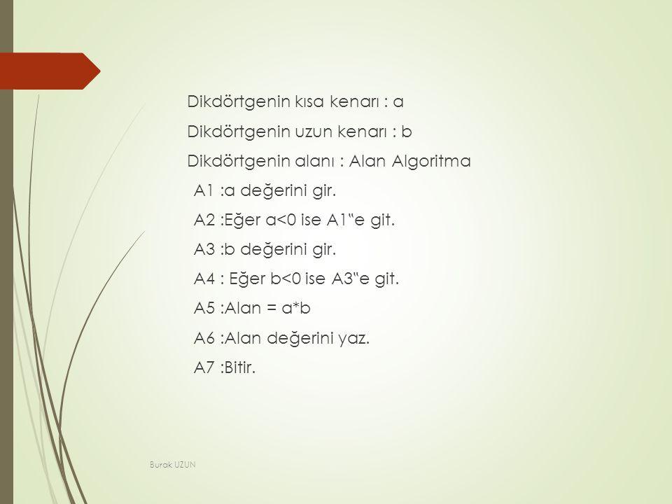 Dikdörtgenin kısa kenarı : a Dikdörtgenin uzun kenarı : b Dikdörtgenin alanı : Alan Algoritma A1 :a değerini gir.