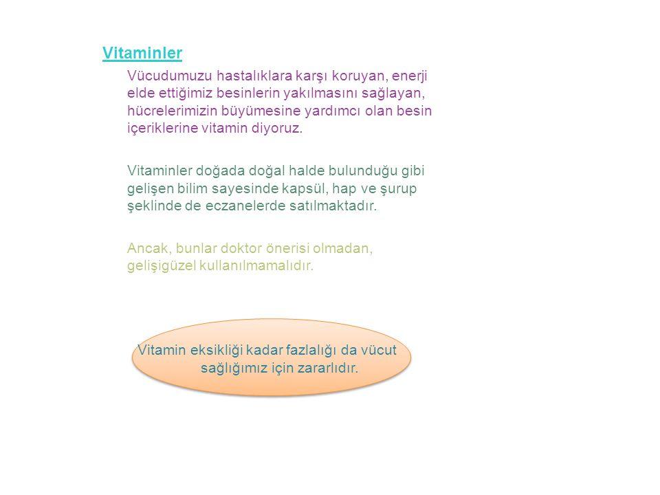Vitamin Tablosu VitaminBulunduğu Besin AEt, süt, yumurta, balık yağı, tereyağı, havuç, domates, yeşil sebzeler.