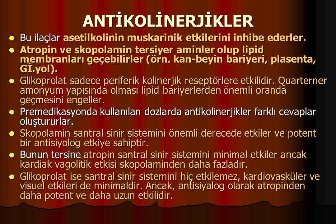 ANTİKOLİNERJİKLER Bu ilaçlar asetilkolinin muskarinik etkilerini inhibe ederler. Bu ilaçlar asetilkolinin muskarinik etkilerini inhibe ederler. Atropi