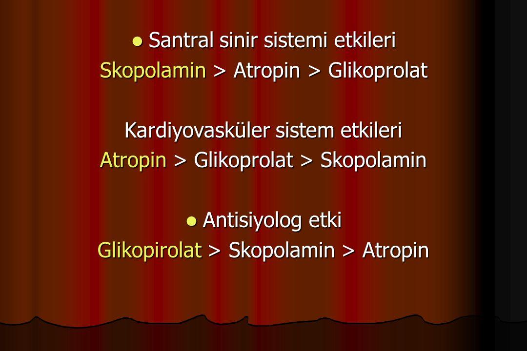 Santral sinir sistemi etkileri Santral sinir sistemi etkileri Skopolamin > Atropin > Glikoprolat Kardiyovasküler sistem etkileri Atropin > Glikoprolat