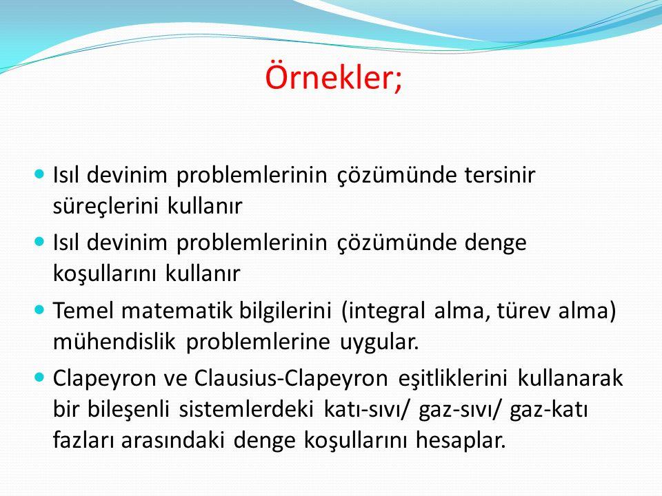 Örnekler; Isıl devinim problemlerinin çözümünde tersinir süreçlerini kullanır Isıl devinim problemlerinin çözümünde denge koşullarını kullanır Temel matematik bilgilerini (integral alma, türev alma) mühendislik problemlerine uygular.