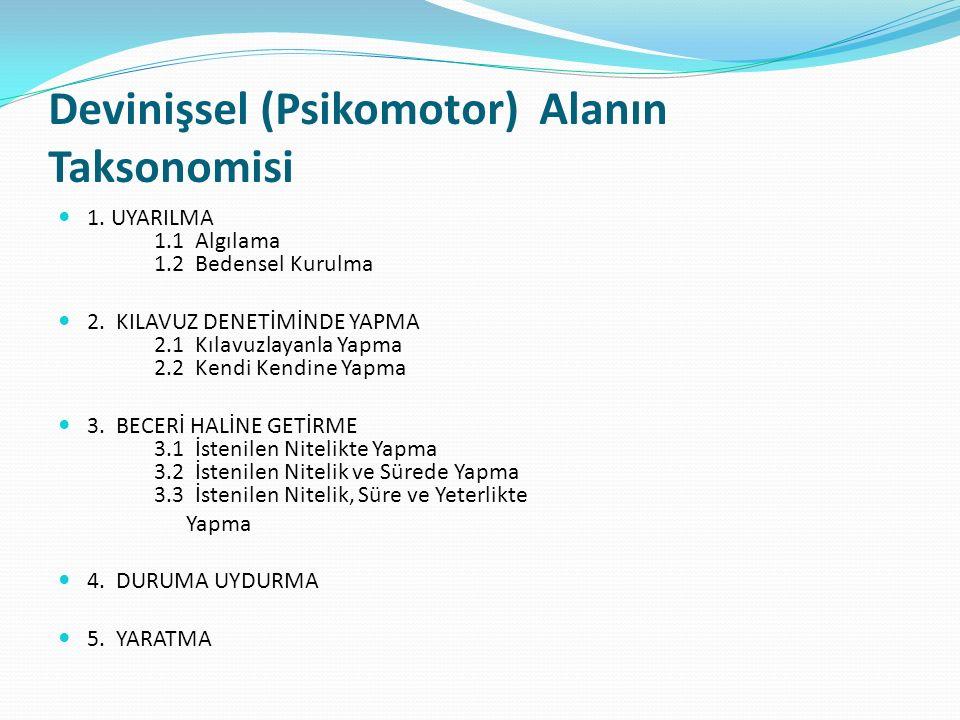 Devinişsel (Psikomotor) Alanın Taksonomisi 1. UYARILMA 1.1 Algılama 1.2 Bedensel Kurulma 2.