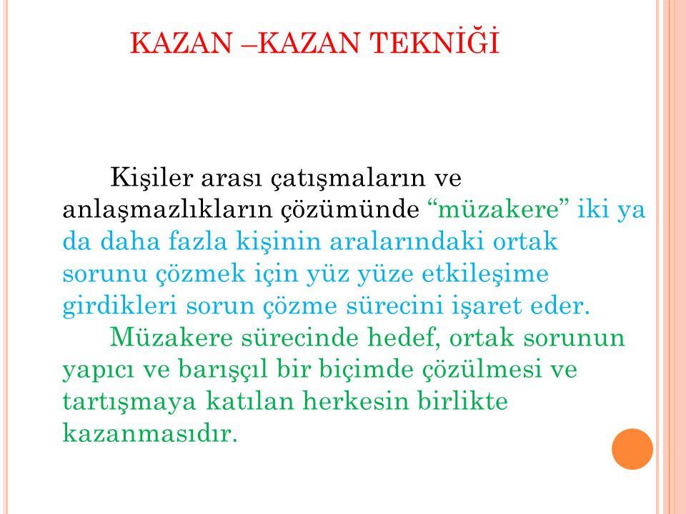 """KAZAN –KAZAN TEKNİĞİ Kişiler arası çatışmaların ve anlaşmazlıkların çözümünde """"müzakere"""" iki ya da daha fazla kişinin aralarındaki ortak sorunu çözmek"""