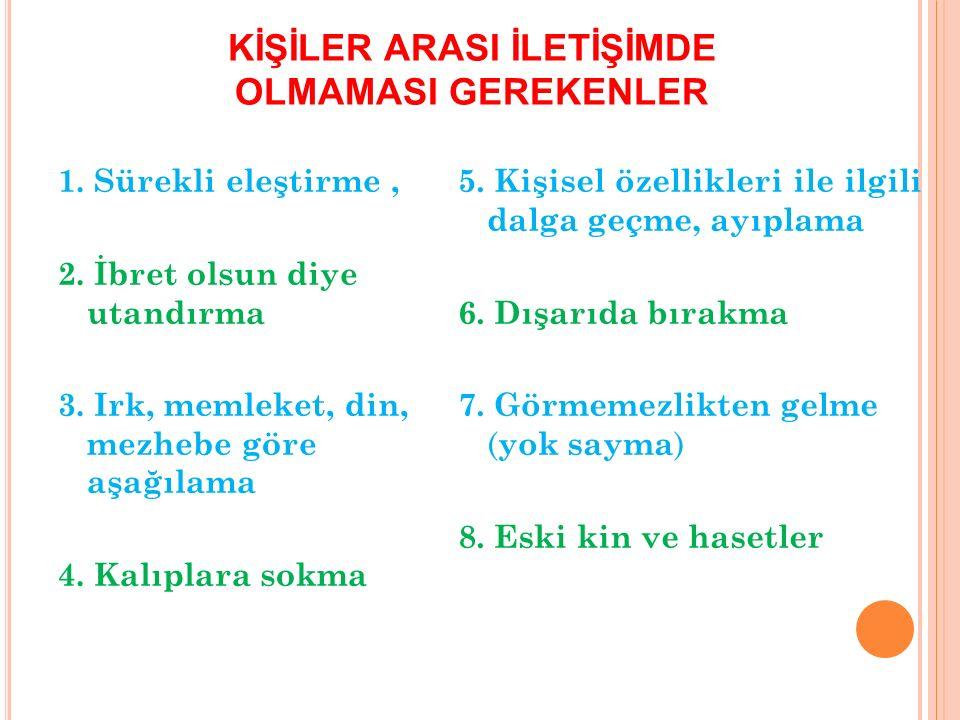 KİŞİLER ARASI İLETİŞİMDE OLMAMASI GEREKENLER 1.Sürekli eleştirme, 2.