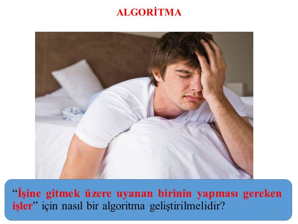 1.Yataktan Kalk 2.Pijamalarını Çıkar 3. Duş Al 4.
