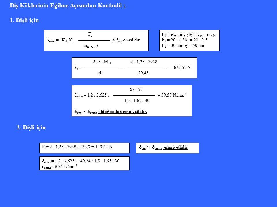 3.Dişli için F c = 2. 1,25. 161317 / 43,86= 9194,99 N  emax = 1,2.
