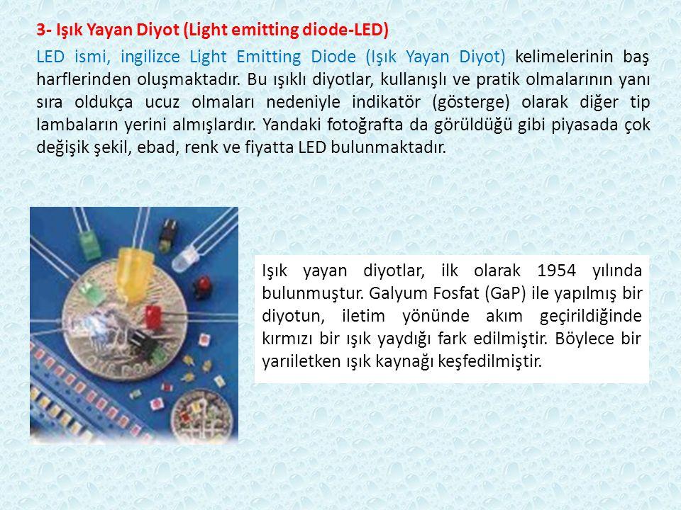 3- Işık Yayan Diyot (Light emitting diode-LED) LED ismi, ingilizce Light Emitting Diode (Işık Yayan Diyot) kelimelerinin baş harflerinden oluşmaktadır.