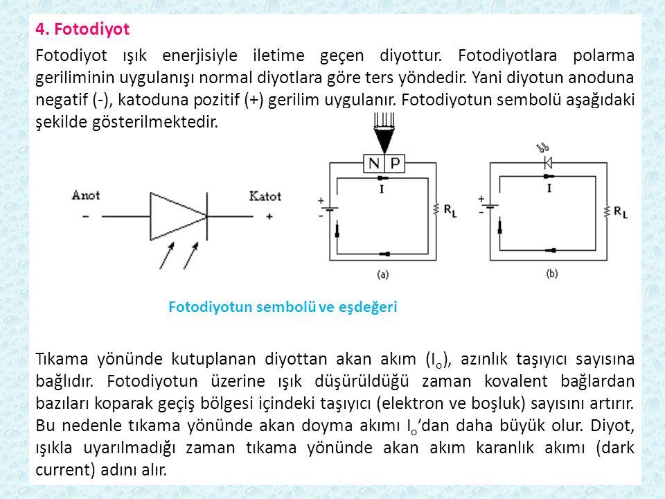 4. Fotodiyot Fotodiyot ışık enerjisiyle iletime geçen diyottur. Fotodiyotlara polarma geriliminin uygulanışı normal diyotlara göre ters yöndedir. Yani