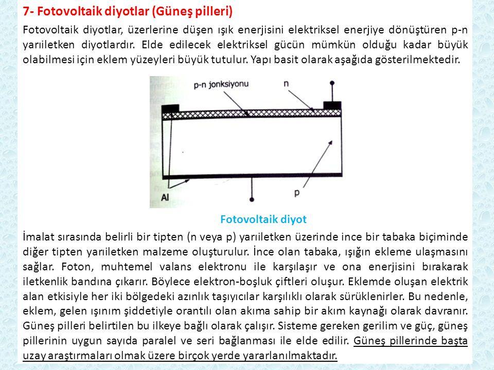 7- Fotovoltaik diyotlar (Güneş pilleri) Fotovoltaik diyotlar, üzerlerine düşen ışık enerjisini elektriksel enerjiye dönüştüren p-n yarıiletken diyotla